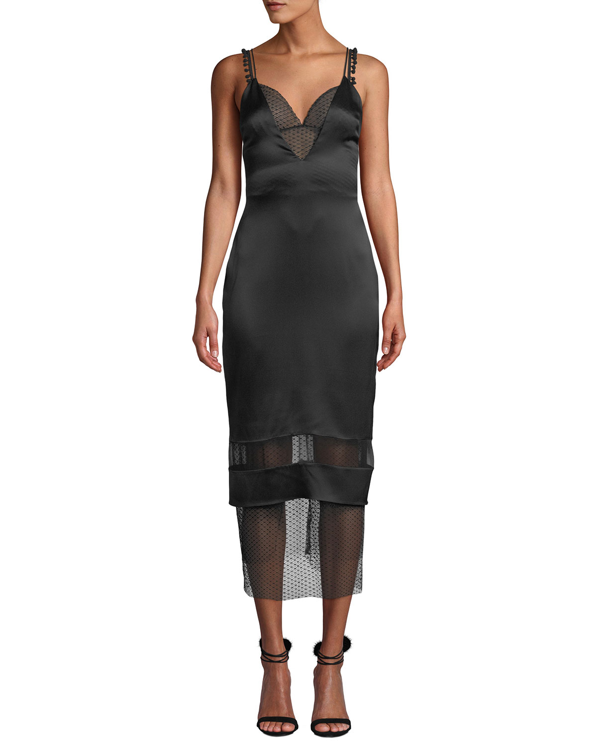 Lace Trim Deep V Neck Slip Dress by Cushnie