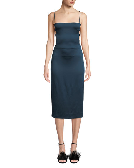 CUSHNIE Square-Neck Banded-Side Pencil Dress