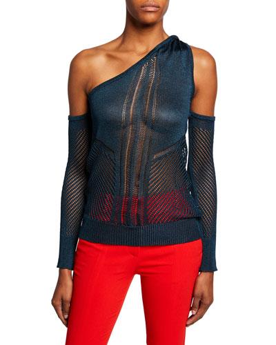 Cold-Shoulder Net-Inset Sweater