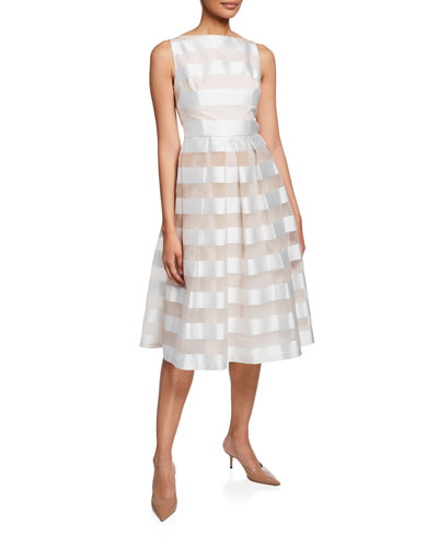 Striped Full Skirt Mid Dress