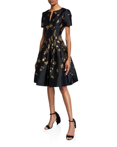 Leaf-Embroidered Short-Sleeve V-Neck Dress