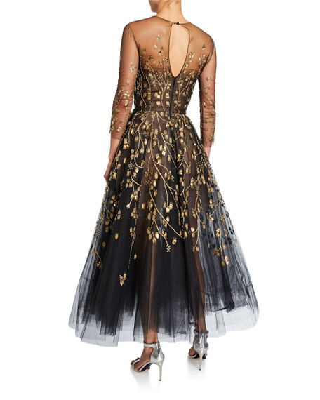 Oscar de la Renta Long-Sleeve Embroidered-Tulle Illusion Gown