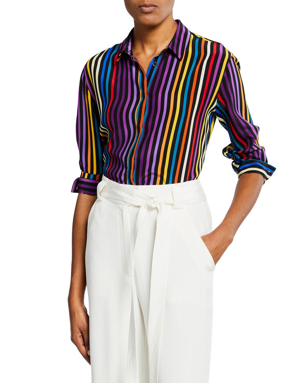 603cb86c04 Etro Rainbow Silk-Striped Shirt