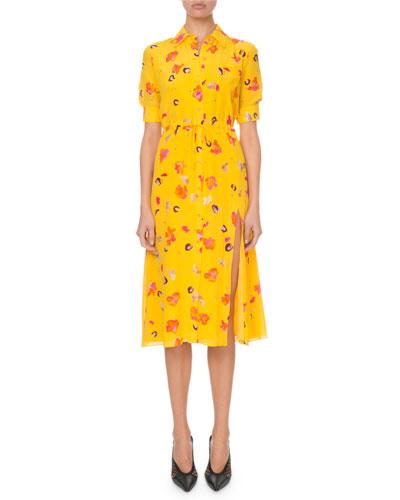 Short-Sleeve Floral-Print Shirtdress