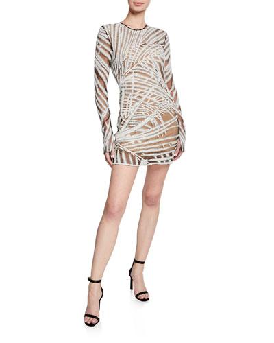 Long-Sleeve Palm-Leaf Illusion Dress