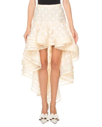 Flocked-Dot Tiered-Hem High-Low Skirt