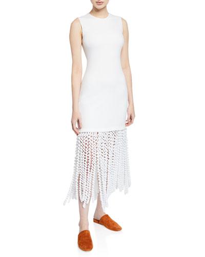Sleeveless Fringe-Hem Dress