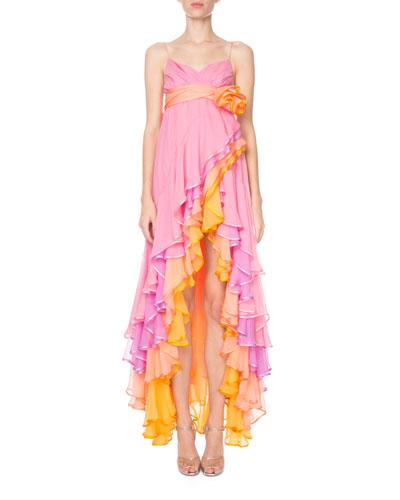 Tiered Cascading Chiffon Cocktail Dress