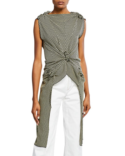 Sleeveless Optic-Jacquard Knotted-Front Top