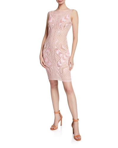 Sleeveless Geometric Lace Dress