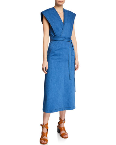 Sleeveless Denim Wrap Dress