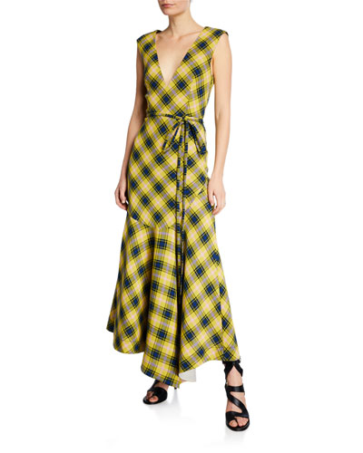 Sleeveless Plaid V-Neck Flounce Dress