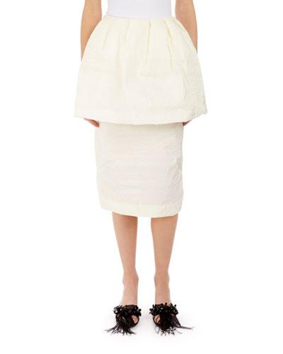 Slim Peplum Paper Cotton Skirt