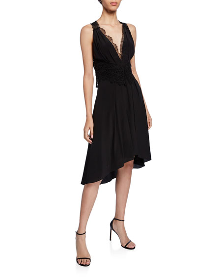 Victoria Beckham Dresses LACE-TRIM HIGH-LOW COCKTAIL DRESS