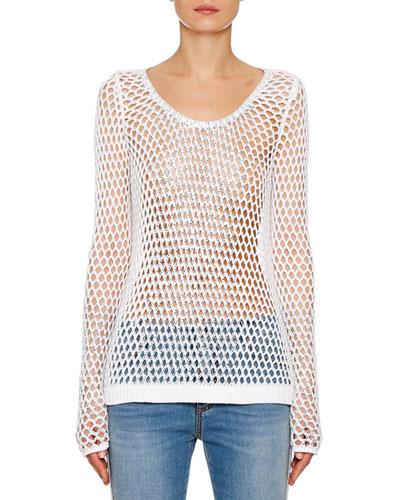 Embellished Cotton Mesh-Knit Sweater