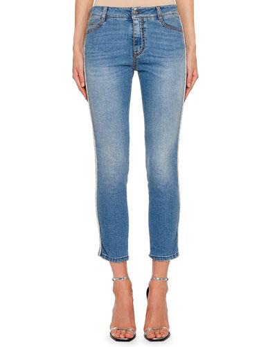 Straight-Leg Metallic Side-Stripe Jeans