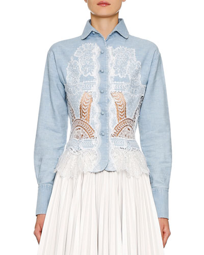Lace-Inset Button-Front Shirt