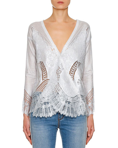 Long-Sleeve V-Neck Foiled Lace-Trim Sweater