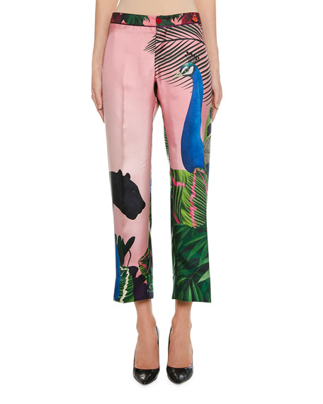 F.r.s For Restless Sleepers PEACOCK PRINT SILK ANKLE TROUSERS