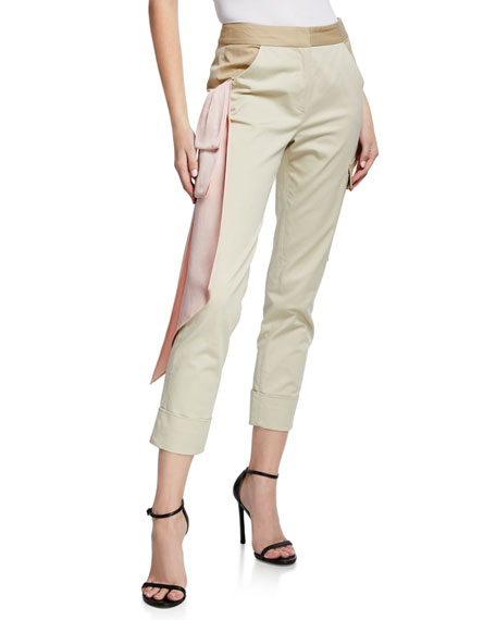 Hellessy BEATON CARGO SATIN TRIM PANTS