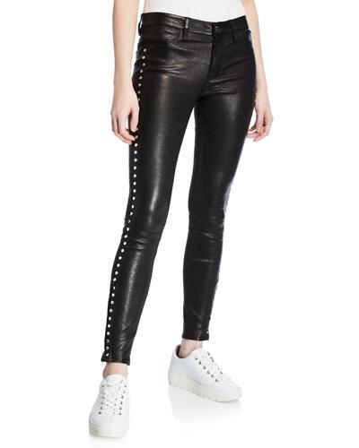 Side-Studded Leather Leggings