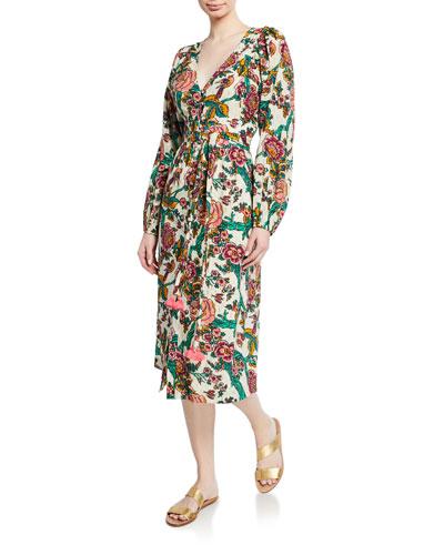 Malina Long-Sleeve Floral Metallic Dress