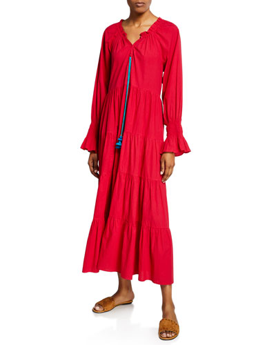 Bella Tiered Flare-Cuff Peasant Dress