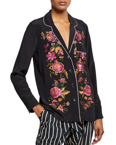 Petra Long-Sleeve Floral Embroidered Blouse