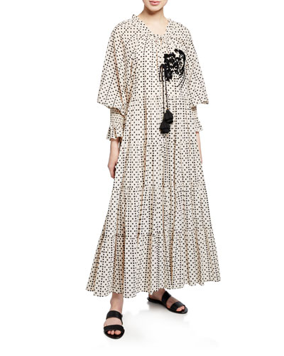 Bella Long-Sleeve Dot Print Tiered Dress