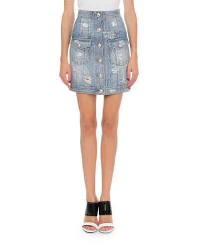 High-Waist Strass Denim Mini Skirt