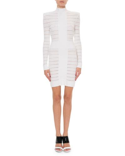Sheer-Striped Long-Sleeve Mock-Neck Cocktail Dress