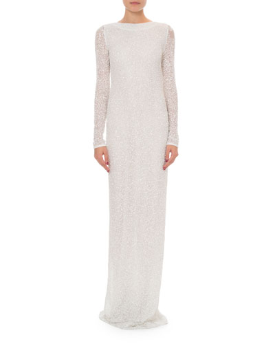 Long-Sleeve Open-Back Pearl & Sequin Gown