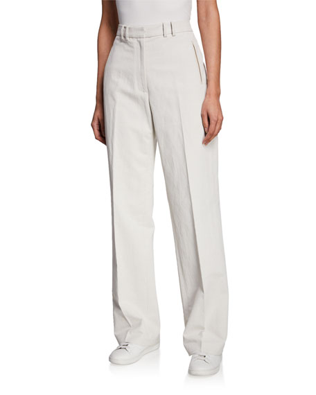 Partow IGNACIO FLAT-FRONT STRAIGHT-LEG CANVAS TROUSERS