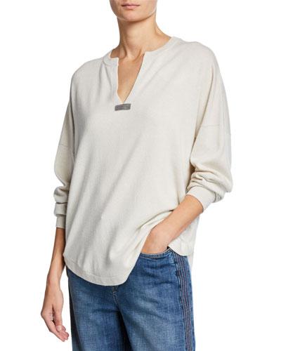 Split-Neck Cashmere Sweater with Monili Bar