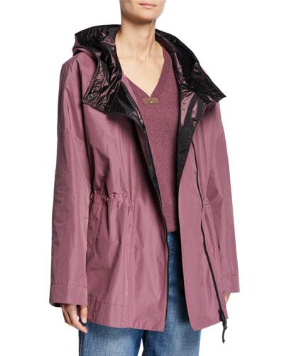 Taffeta Satin-Hooded Cinched-Waist Anorak Jacket