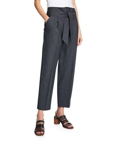 Tie-Waist Lightweight Wool Pants