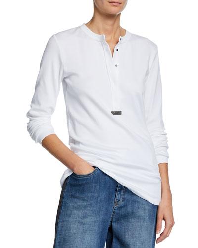 Ribbed Monili-Beaded Henley Shirt