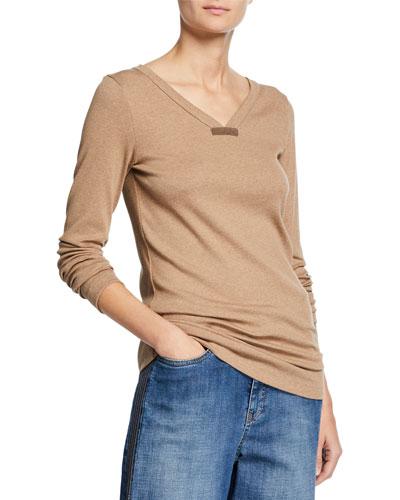 Cotton Ribbed Long-Sleeve V-Neck Top with Monili Bar