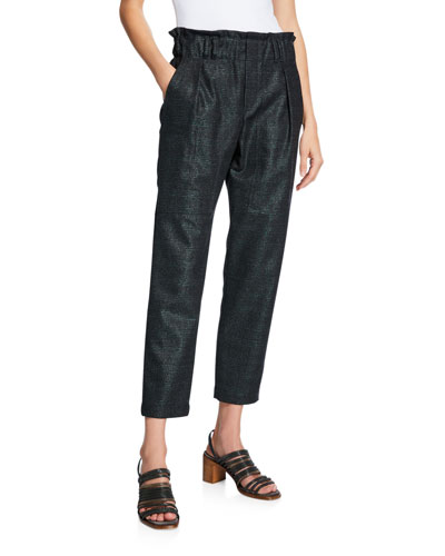 High-Rise Shimmered Plaid Cropped Pants