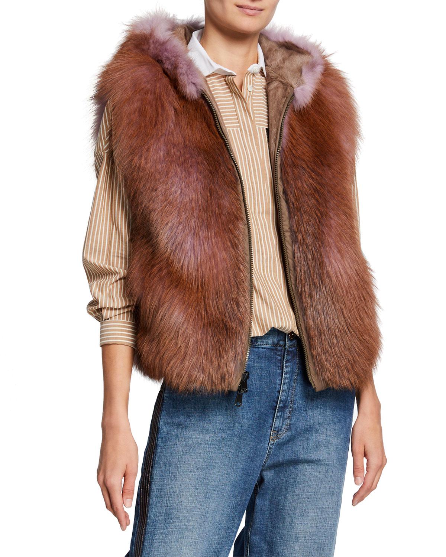 Brunello Cucinelli Hooded Fox Fur & Goat Hair Vest