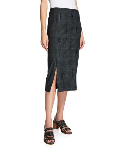 Glen Plaid Crystal-Embellished Pencil Skirt