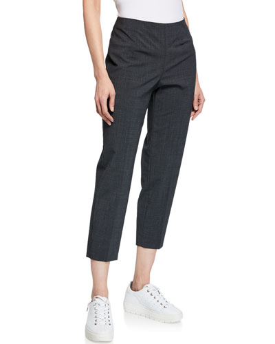 Audrey Straight-Leg Stretch-Wool Cropped Pants  Gray