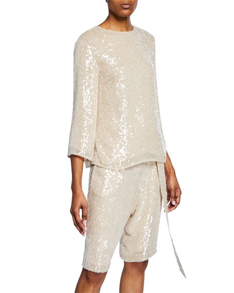 Sally Lapointe 3/4-SLEEVE SEQUINED CREWNECK TOP