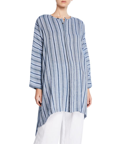 Fine-Line Striped Button-Front Tunic