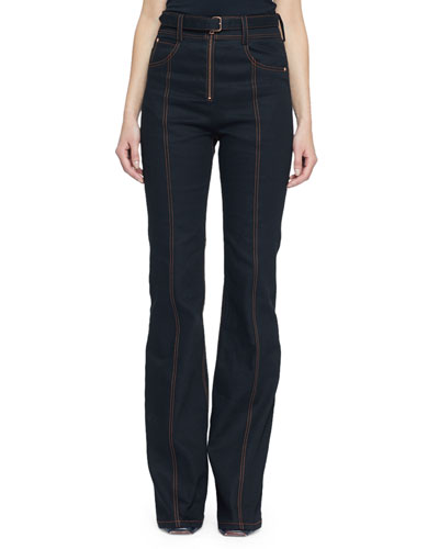 Belted Stretch Denim Suiting Pants