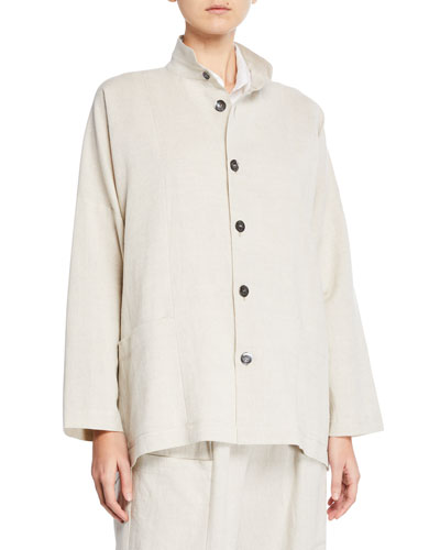Seamed Linen-Cotton High-Low Jacket
