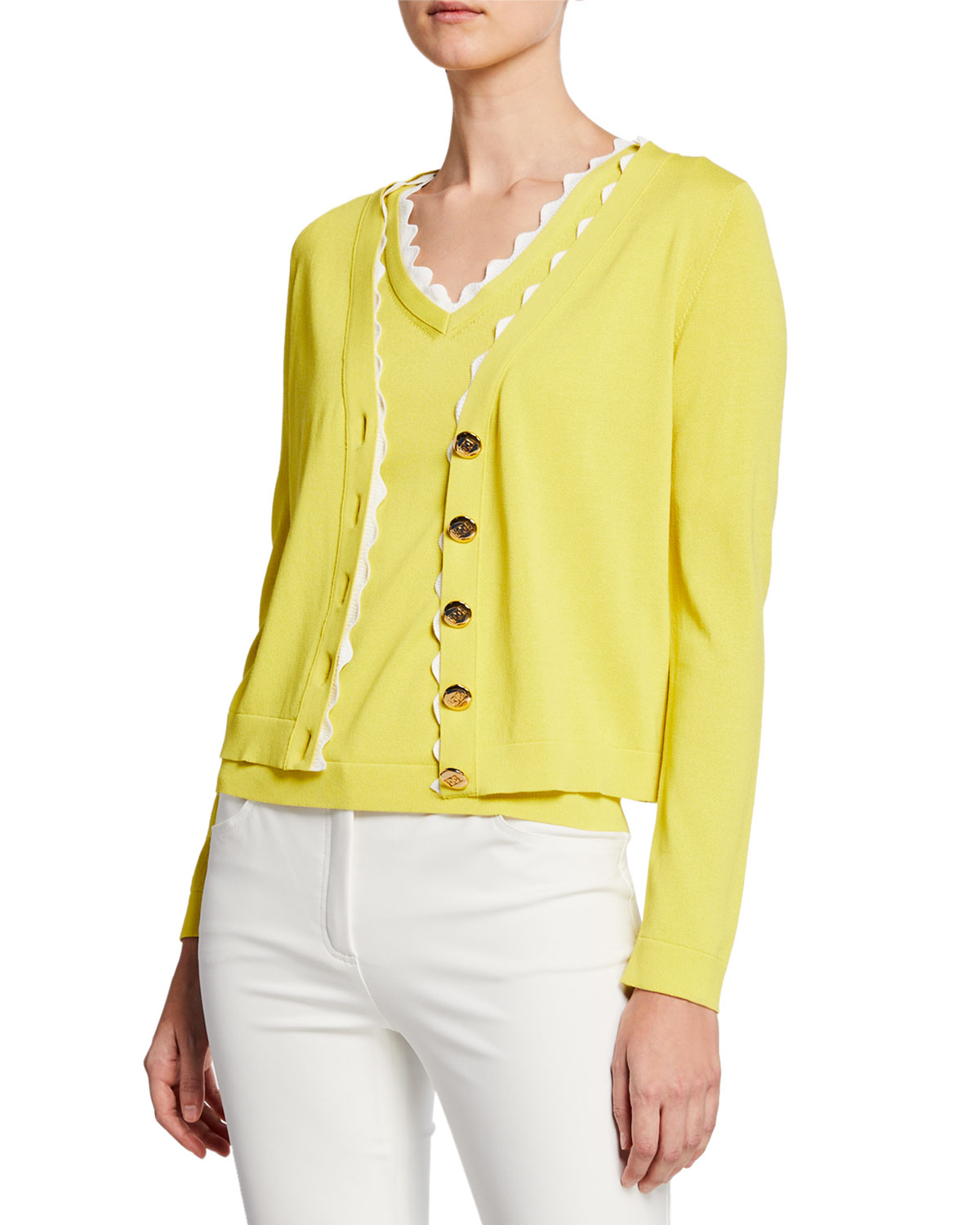 6532661892 Escada V-Neck Scalloped Cotton Cardigan