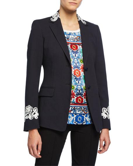 Escada Ribbon-Embroidered Stretch Cotton Blazer