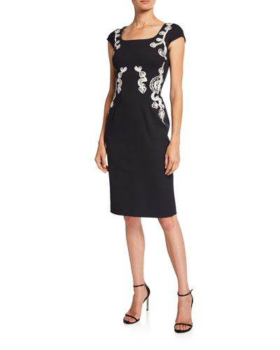 Ribbon-Embroidered Cap-Sleeve Dress