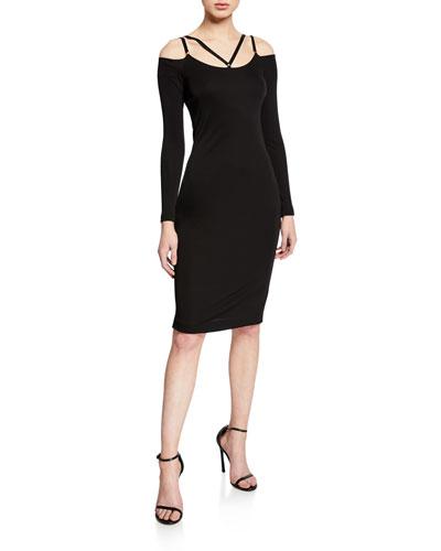 Strappy Cold-Shoulder Jersey Dress